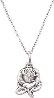 Women's Religious Mary Medal Petite Rose Pendant Necklace