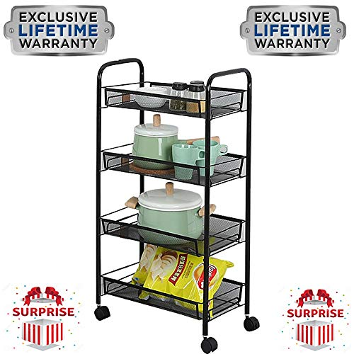 YLFTC Office Organization Pantry Storage Cabinet Bar Cart Storage Shelves Carbon Steel Paint Process Universal Wheel Design Easy to Move Suitable for Living Room Kitchen Bedroom