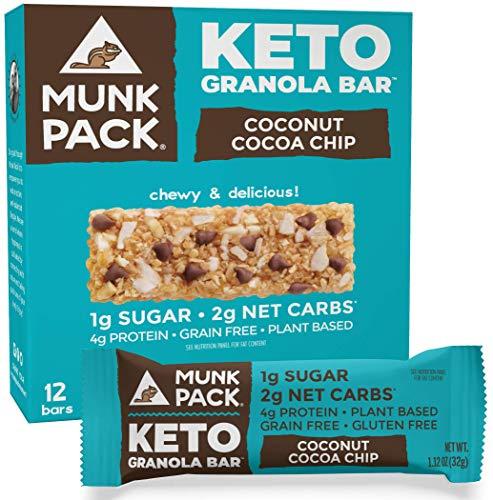 Munk Pack Keto Granola Bar, 1g Sugar, 2g Net Carbs, Keto Snacks, Chewy & Grain Free, Plant Based, Paleo-Friendly, Gluten Free, Soy Free, No Sugar Added (Coconut Cocoa Chip 12 Pack)