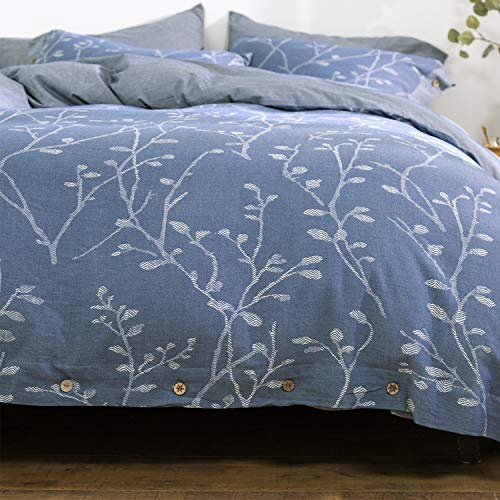 OREISE Duvet Cover Set King Size Washed Cotton Yarn, Jacquard Blue and White Thick Branch Pattern Floral Style 3Piece Bedding Set
