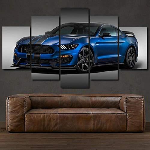 Cinco módulos, Lona Pintura pinturas decorativas 200x100CM Mustang Shelby Gt350 Blue Super Coche de lujo Impresiones del Arte de la Pared Cartel Decoración del hogar Lienzo Cuadros modulares para Sala