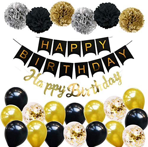 Ohighing Happy Birthday Schwarz Geburtstag Party Deko Set 1 Girlande 6 Pompoms 16 Luftballons Schwarz Gold Ballons Gold Konfetti Luftballon(ca.30cm) 1 Happy Birthday Banner in Gold metallic