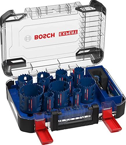 Bosch Professional 2608900448 14x Sierras de Corona Expert Tough Material (Ø 20-76 mm, Accesorios Taladro de Impacto rotativo), Set diámetro 20/22/25/32/35/40/44/51/60/68/76 mm