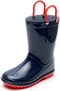 Boys Rain Boots Blue Toddler Kids Lightweight Cute Waterproof Raining Shoes with Easy-on Handles Solid Color Rain Boots