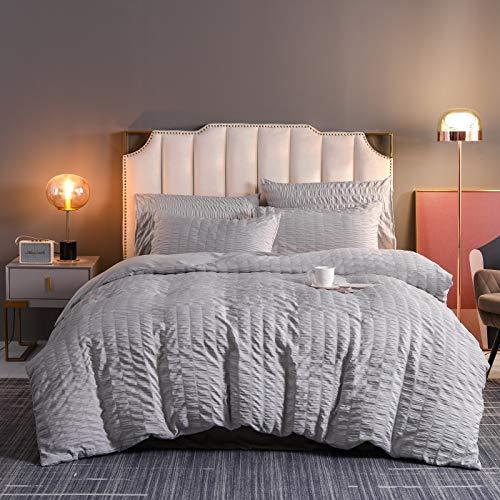 Juego de funda de edredón y funda de almohada de estilo minimalista japonés, 100% fibra de poliéster (gris claro, 220 x 240 cm)