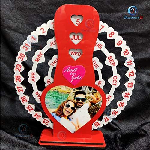 BusinessJi Heart Shape Love Calendar with Both Side Photo Printed, Customized Wooden Love Calendar
