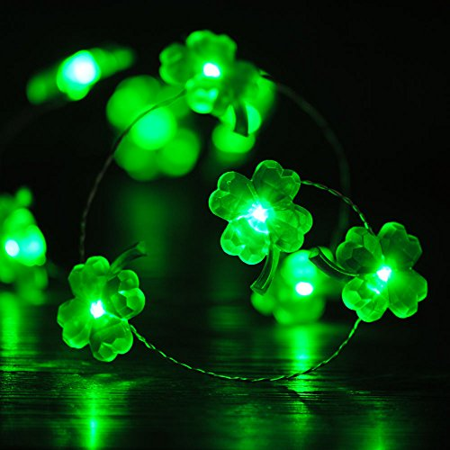 Impress Life St Patricks Day Shamrocks String Lights Decor, Four-Leaf Clover Copper Wire 10 ft 40 LEDs with Remote. for Christmas, Spring, Wedding, Birthday, Patio, DIY Home Parties Decorations