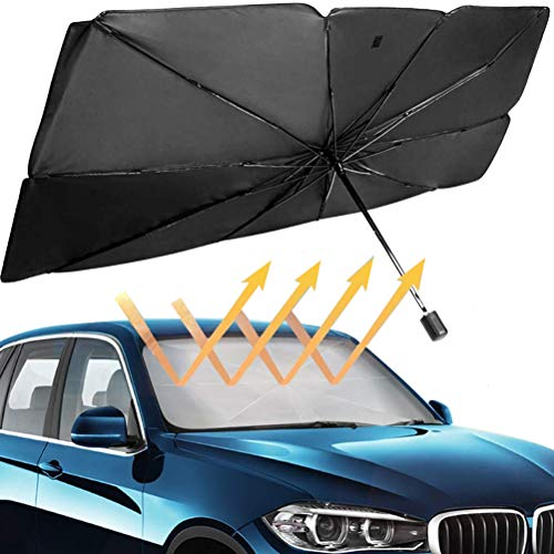 HOLDCY Car Windshield Sunshades - Telescopic Sun Shade Umbrella - Blocks UV Rays Sun Visor Protector to Keep Your Vehicle Cool and Damage Free,for Most Sedans SUV Truck (51.18'inch x 31.10'inch)
