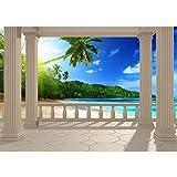 Vlies Fototapete 400x280 cm PREMIUM PLUS Wand Foto Tapete Wand Bild Vliestapete - TERRACE VIEW CARIBBEAN BEACH - Ausblick Terrasse Seeblick 3D Strand Beach Meer Sonne Palmen - no. 0121