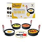 Best Omelette Makers - QUIDIS, 4 Pcs Egg Rings Set, Stainless Steel Review