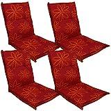 DILUMA Niedriglehner Auflage Naxos für Gartenstühle 98x49 cm 4er Set Blume Rot - 6 cm Starke Stuhlauflage mit Komfortschaumkern und Bezug aus 100% Baumwolle - Made in EU mit ÖkoTex100