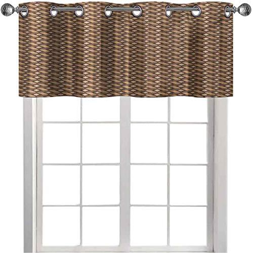 Cenefa de cortina recta corta, patrón de parquet de mosaico con rombos cuadrados disposición de rayas angulares, 91.4 cm de ancho x 45.7 cm de largo para sala de estar, marrón pálido