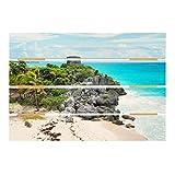 Bilderwelten Cuadro de Madera - Caribbean Coast Tulum Ruins 48x70cm