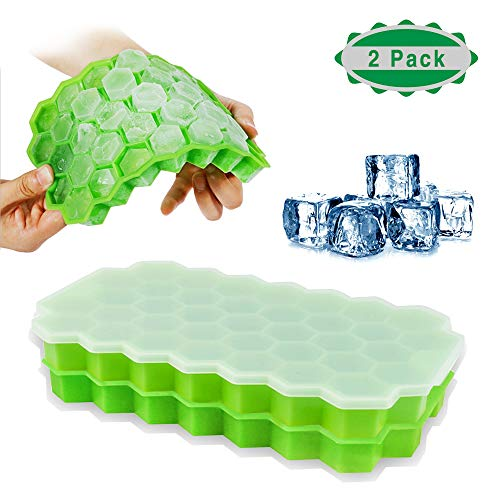 Ice Cube Trays with Lids, JSDOIN 2 Pack Silicone Ice Cube Molds Flexible 74-Ice Trays BPA Free, for Whiskey, Cocktail, Stackable Flexible Safe Ice Cube Molds