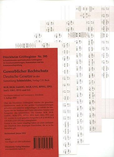 DürckheimRegister® Gewerblicher Rechtschutz (BGB, HGB, GmbHG, StGB, GVG, RPflG, ZPO, InsO, GKG, RVG u. GG): 204 Registeretiketten (sog. Griffregister) ... In jedem Fall auf der richtigen Seite®