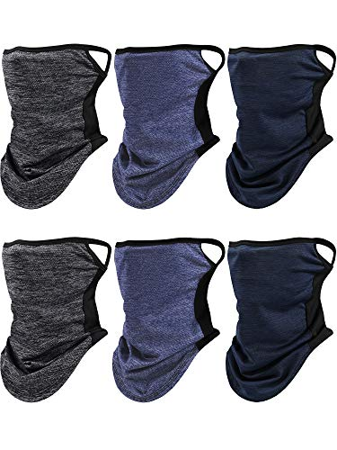 6 Pieces Face Cover Scarf with Ear Loops Ice Silk UV Protection Neck Gaiter Headwear Balaclava for Men Women (Dark Blue, Gray and Dark Gray)