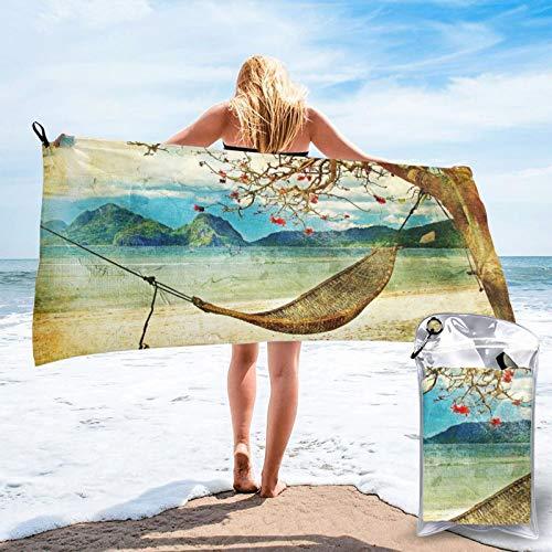 HNSENRUO Toalla de playa de secado rápido, columpio de otoño y árbol impreso toallas de baño ligeras de microfibra súper absorbentes para niños y adultos de 27.5 x 55 pulgadas