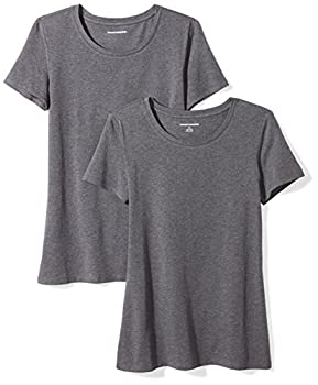 Amazon Essentials Women s 2-Pack Classic-Fit Short-Sleeve Crewneck T-Shirt Charcoal Heather Small