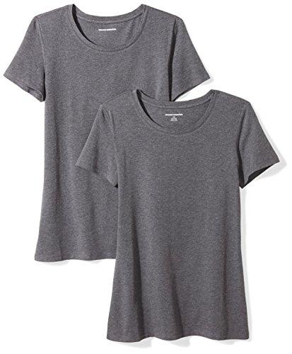 Amazon Essentials Damen-T-Shirt, klassisch, kurzärmlig, Rundhalsausschnitt, 2er-Pack, Grau (Charcoal Heather), Medium