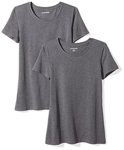 Amazon Essentials Women's 2-Pack Classic-Fit Short-Sleeve Crewneck T-Shirt, Charcoal Heather, Large