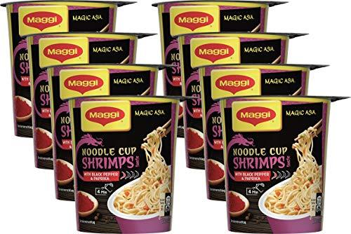 Maggi Magic Asia Shrimps Noodle Cup, Instant Nudel-Snack, asiatisches Fertiggericht, mit Shrimps-Geschmack, 8er Pack (8 x 64g)