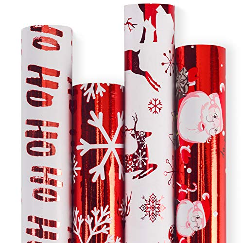 RUSPEPA Christmas Wrapping Paper-Red and White Paper with a Metallic foil Shine-Christmas Elements Collection-4 Roll-30Inch X 10Feet Per Roll