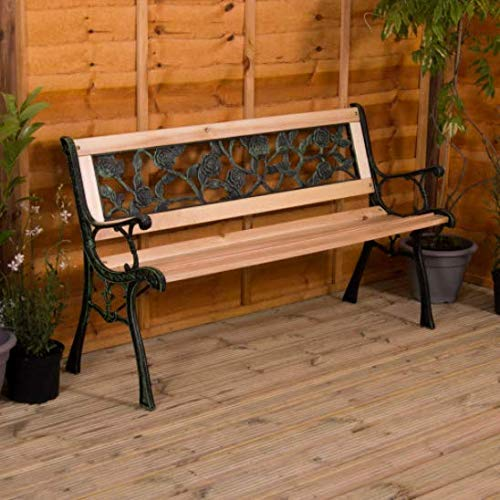 Garden Mile Wooden 3 Seater Garden Bench with Rose Effect Back Decorative Seating Outdoor Patio Decking Wood & Cast Iron Vintage Traditional