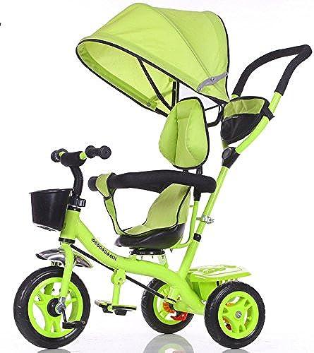 QXMEI Kinder Dreirad One-Key-Rotation Baby Bike Boy Girl Selbst Fahrrad Baby Trolley 1 bis 6 Jahre Alt,Grün