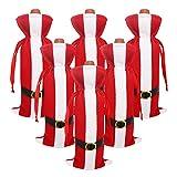 Couverture de Bouteille de Vin de Noël 6 Pcs sacs de vin rouge pour habiller bouteille de vin réutilisable sacs-cadeaux de vin pour le dîner à la maison décoration de fête décoration de table décor