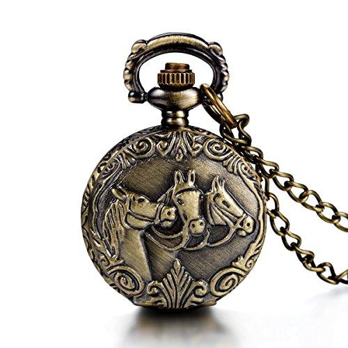 JewelryWe Orologio da Tasca Ragazzi Donna Uomo Collana con Ciondolo Disegno Cavallo