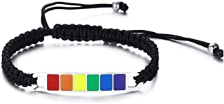JAJAFOOK Jewelry Stainless Steel Enamal Weave Rainbow Gay & Lesbian Pride Bracelet Adjustable