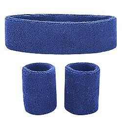 Fussox Sweatband Set Headband Sport Wrist and Head Sweatband Cotton Sweatbands (Blue)