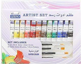Leeno Artist Set 12 pcs 12ml water color paints and 4 Taklon Artist Brushes and 1 Paint Palette