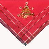Kamaca Árbol de Navidad serie en rojo a cuadros con encantador bordado en oro y verde, un atractivo en otoño e invierno, Navidad
