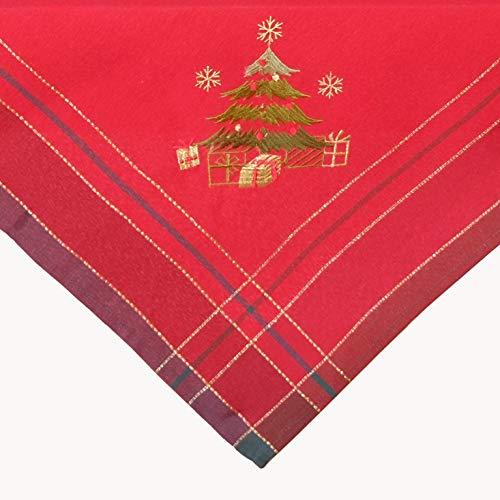 Kamaca Mitteldecke Weihnachtsbaum in rot kariert mit Bezaubernder Stickerei in Gold und grün - EIN Eyecatcher in Herbst Winter Weihnachten (Tischdecke 85x85 cm)