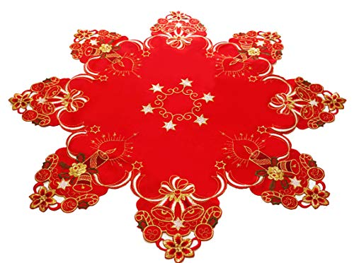 CloudSun Holiday Table Topper Centerpiece,Poinsettia Embroidered Christmas Flowers and Candles with Bells for Home Kitchen Dining Room Parties Xmas Table Decorations,(34