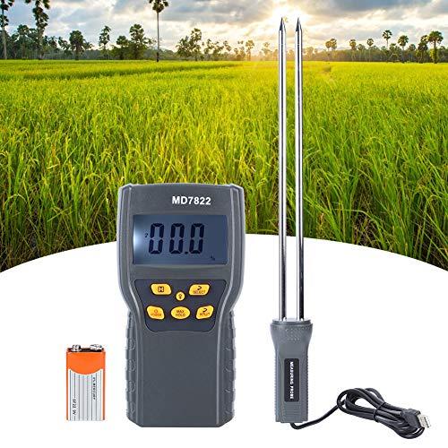 FEYV Tester del Contenuto di umidità, Pratico misuratore di umidità del Grano Portatile accurato Lungo per Chicchi di caffè di soia per Materiale Medico