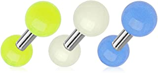 PiercedOff Paquete de 3 barras de cartílago que brillan en la oscuridad