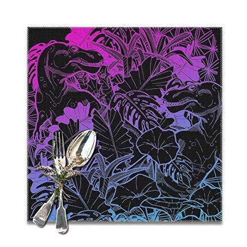 T Rex - Juego de 6 manteles individuales (antideslizantes, lavables, cuadrados, 30,5 x 30,5 cm), color rosa y azul