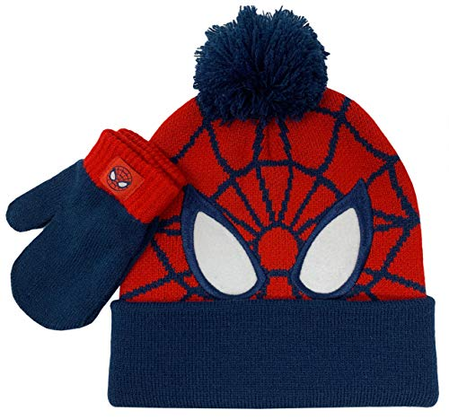Spiderman Winter Hat and Glove Set, Boys Cuff Beanie Ages 2-5 Red/Navy