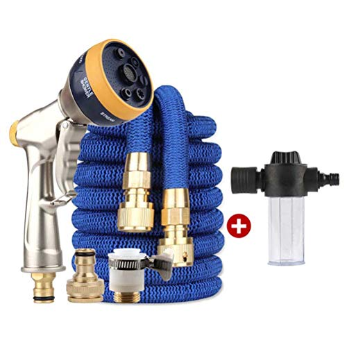 LZDX Expandable Garden Hose with Foam Water Bottle, 3 Times Flexible Expanding Hose with 7 Function Spray Nozzle, for Lawn/Pet/Car/Boat Wash,7.5m
