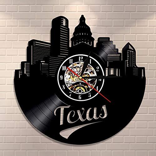 wtnhz LED-Reloj de Pared con Disco de Vinilo del Horizonte de Texas, Estados de EE. UU, Silueta de Dallas, Reloj de Pared Moderno, decoración del Paisaje Urbano, Reloj, Regalos para viajeros