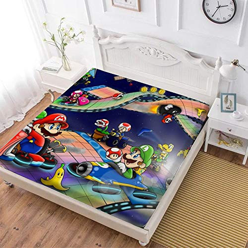 Fitted Sheet,Mario Luigi Princesse Peach Yoshi (1),Soft Wrinkle Resistant Microfiber Bedding Set,with All-Round Elastic Deep Pocket, Bed Cover for Kids & Adults,full (59x80 inch)