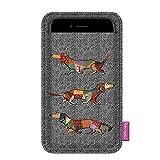 BERTONI Joker - Salchicha Perro - Funda Funda Funda de Fieltro Universal para Smartphone iPhone 7 Plus, 6S Plus, 7, 6S, 6, 5S, Samsung Galaxy, Sony - Tamaño: 100 x 175 mm