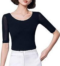 See Through Sheer Short Sleeve T Shirt Fitted Undershirt Women Mesh Scoop Neck Tee