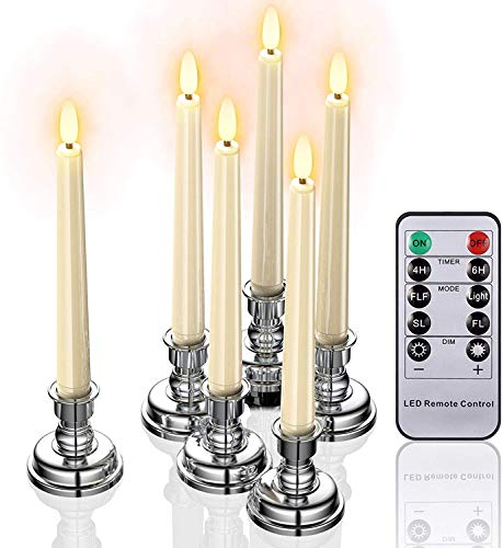 Flameless Window Candles Lights, 6 Pack 8 Inches Battery Operated Dripless Flicker LED Taper Candles with Remote Timer Candlesticks for Christmas Thanksgiving Table Holiday Party Home Decor