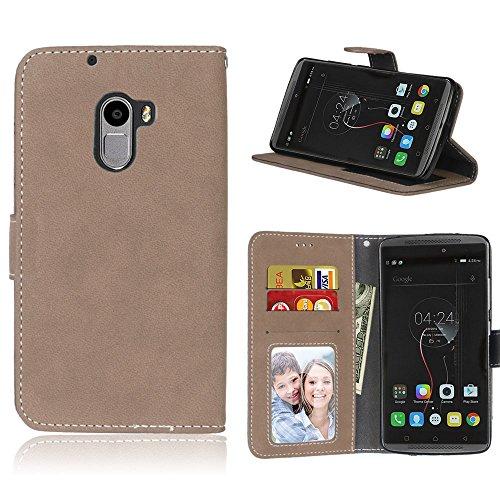 Handy Kasten für Lenovo Vibe K4 Note A7010/Vibe X3 Lite,Bookstyle 3 Card Slot PU Leder Hülle Interner Schutz Schutzhülle Handy Taschen(Beige)
