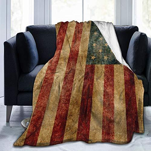 Manta clásica de franela de forro polar para todas las estaciones, manta transpirable de microfibra esponjosa para hotel de viaje en la oficina (patrón de la bandera americana, 152 x 201 cm)