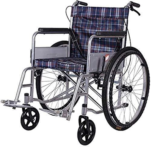 HZYDD Transporte de la luz de la Silla de Ruedas Plegable Silla de Viaje portátil Tubo de Acero Grueso Anciano Anciano for discapacitados Mano Mano Scooter (Estilo: B) Conveniente