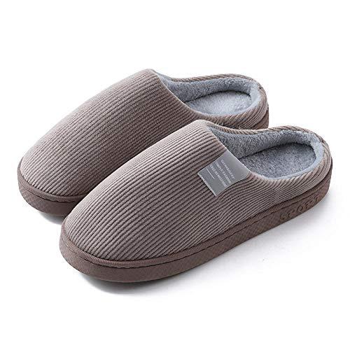 QPPQ Pantuflas de algodón de interior, zapatillas antideslizantes para hombres y mujeres, zapatillas de algodón silenciosas y cómodas-marrón 2_9-9.5,Zapatillas antideslizantes de invierno